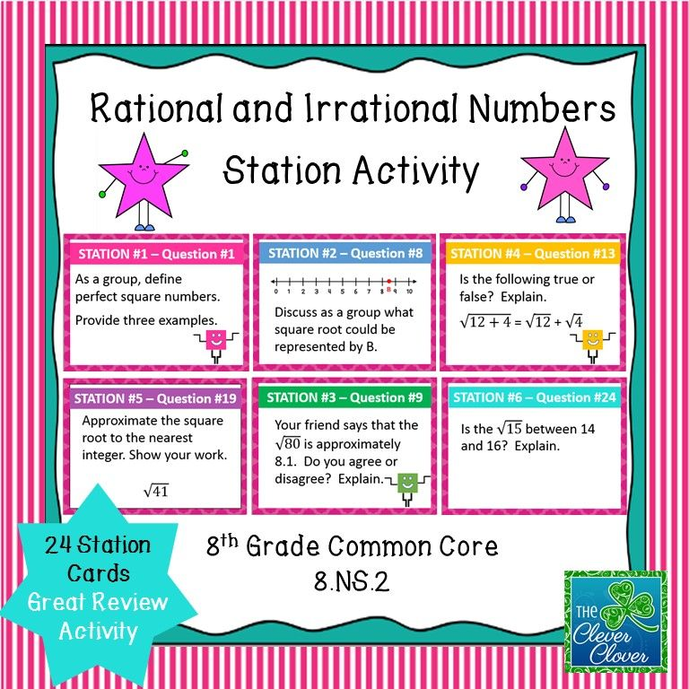 Estimating Square Roots Task Cards Irrational numbers