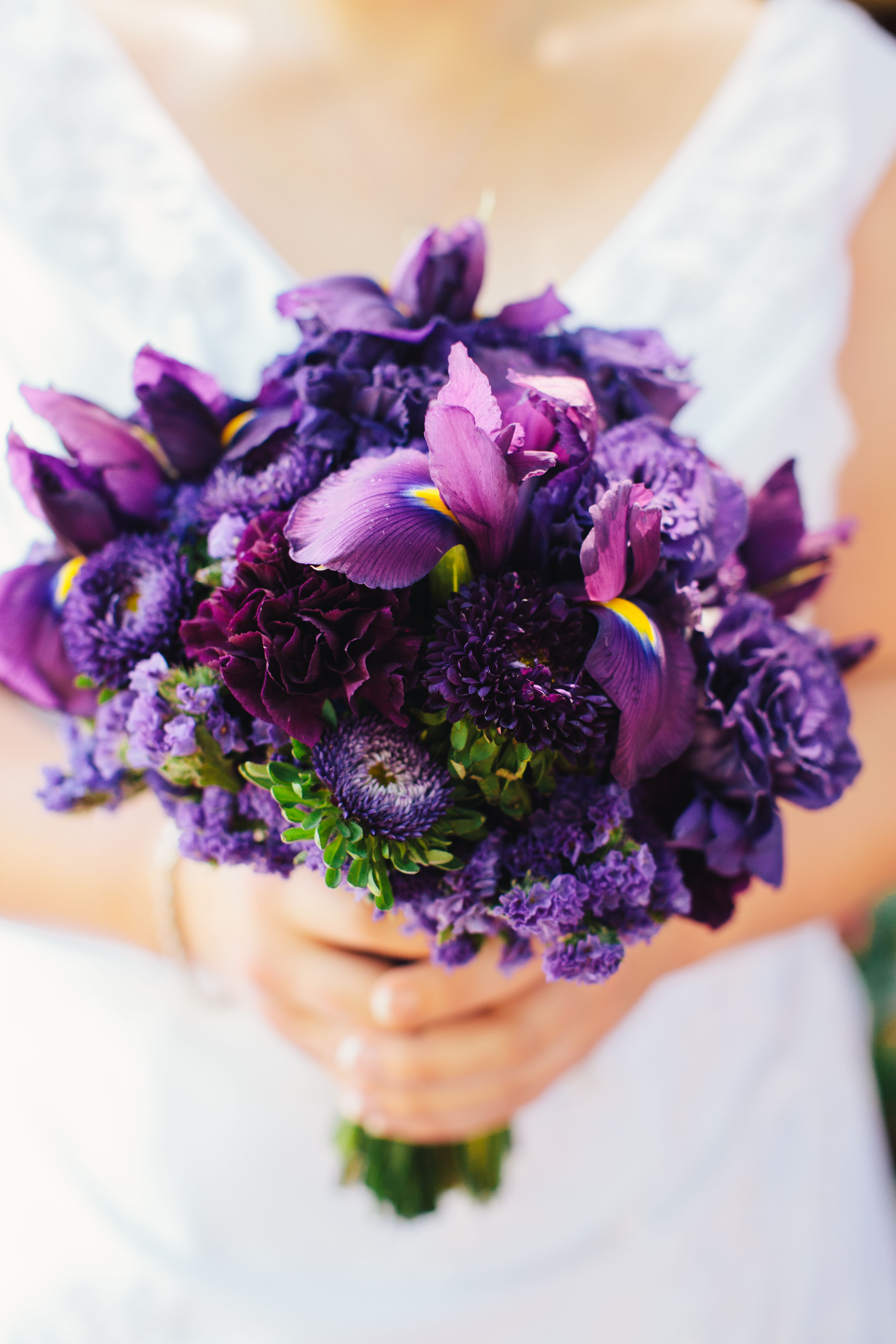 Purple Bridal Bouquet with Iris, Aster, Carnations