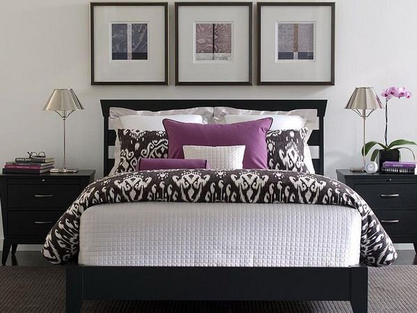 purple and white bedroom combination ideas | white patterns