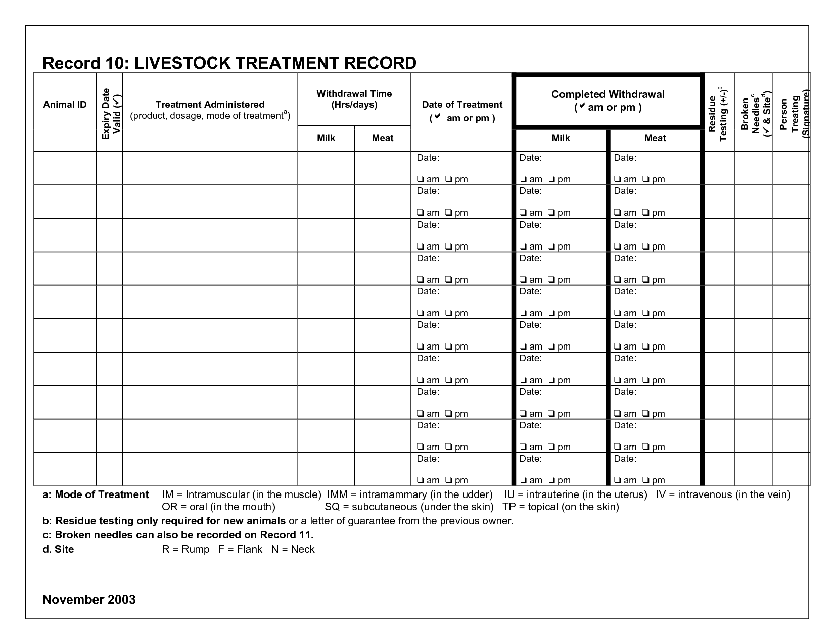 Printable Cattle Record Sheet