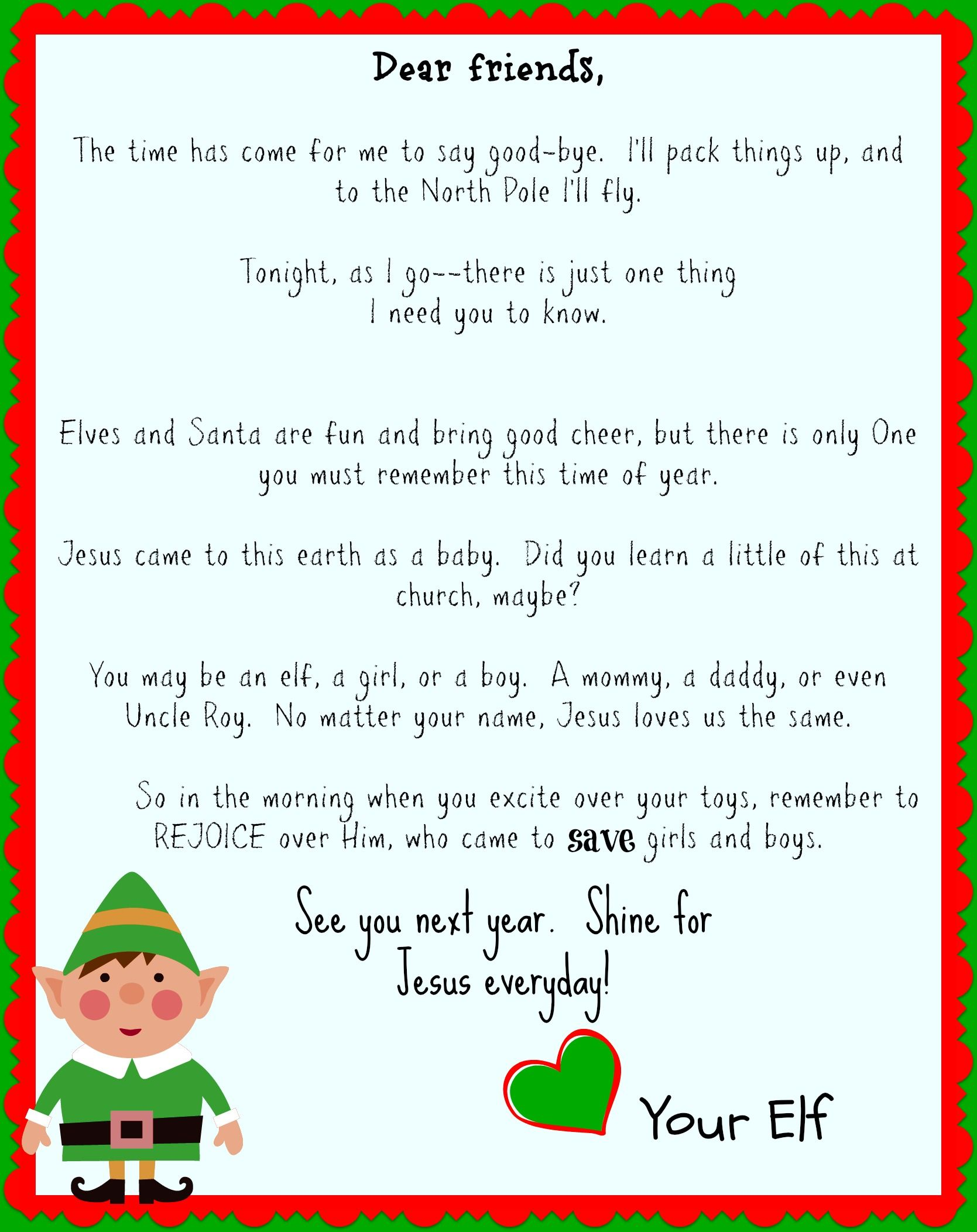 Elf on the Shelf good bye letter focusing on Jesus. It