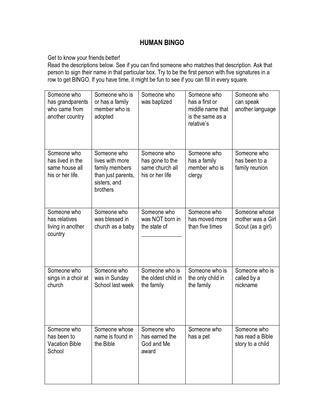 Human Bingo Get To Know Your Friends Better Read The