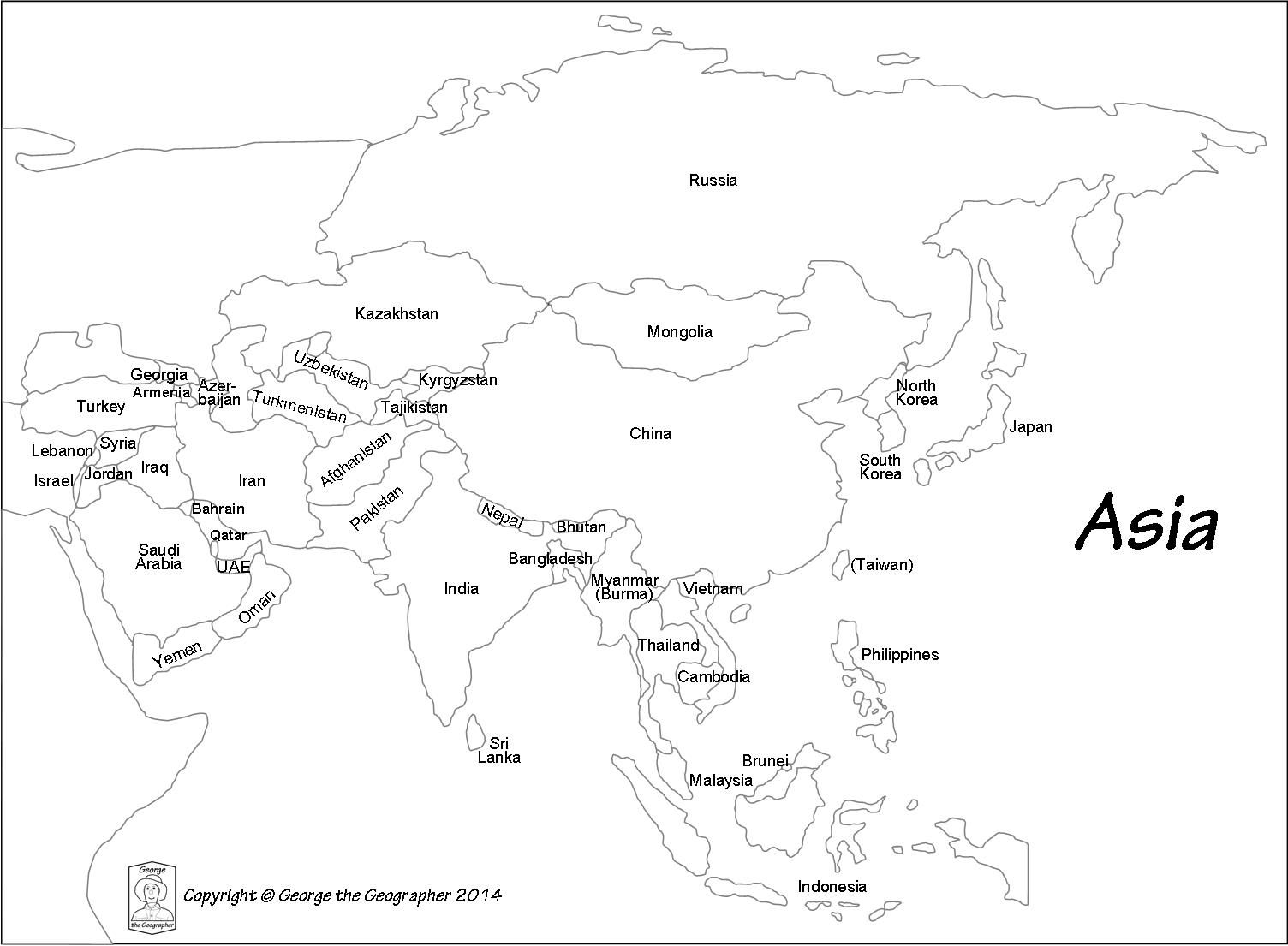 Asia Map Black And White