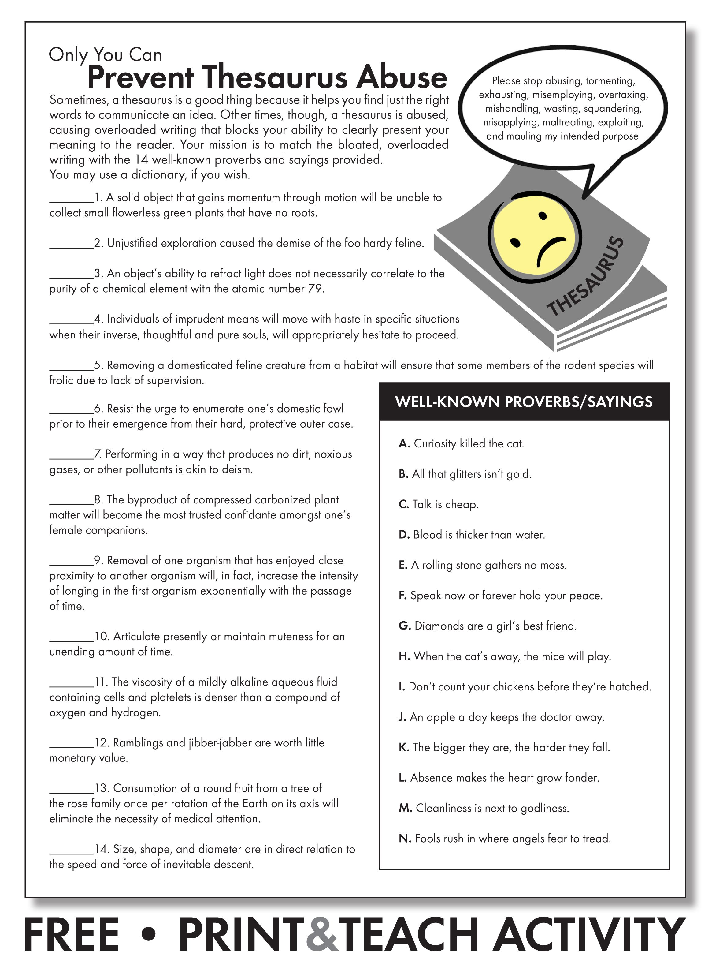 Free Worksheet To Emphasize Careful Word Choice Grades 7