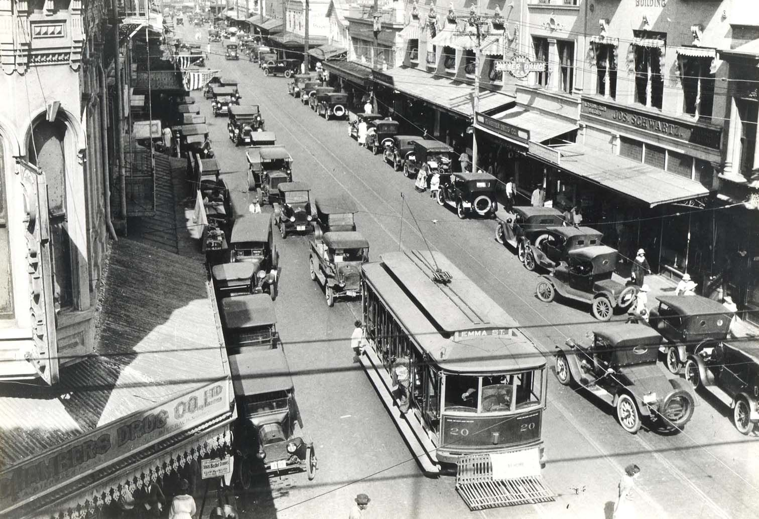 Street Cars At King And Fort Streets Honolulu 1930s