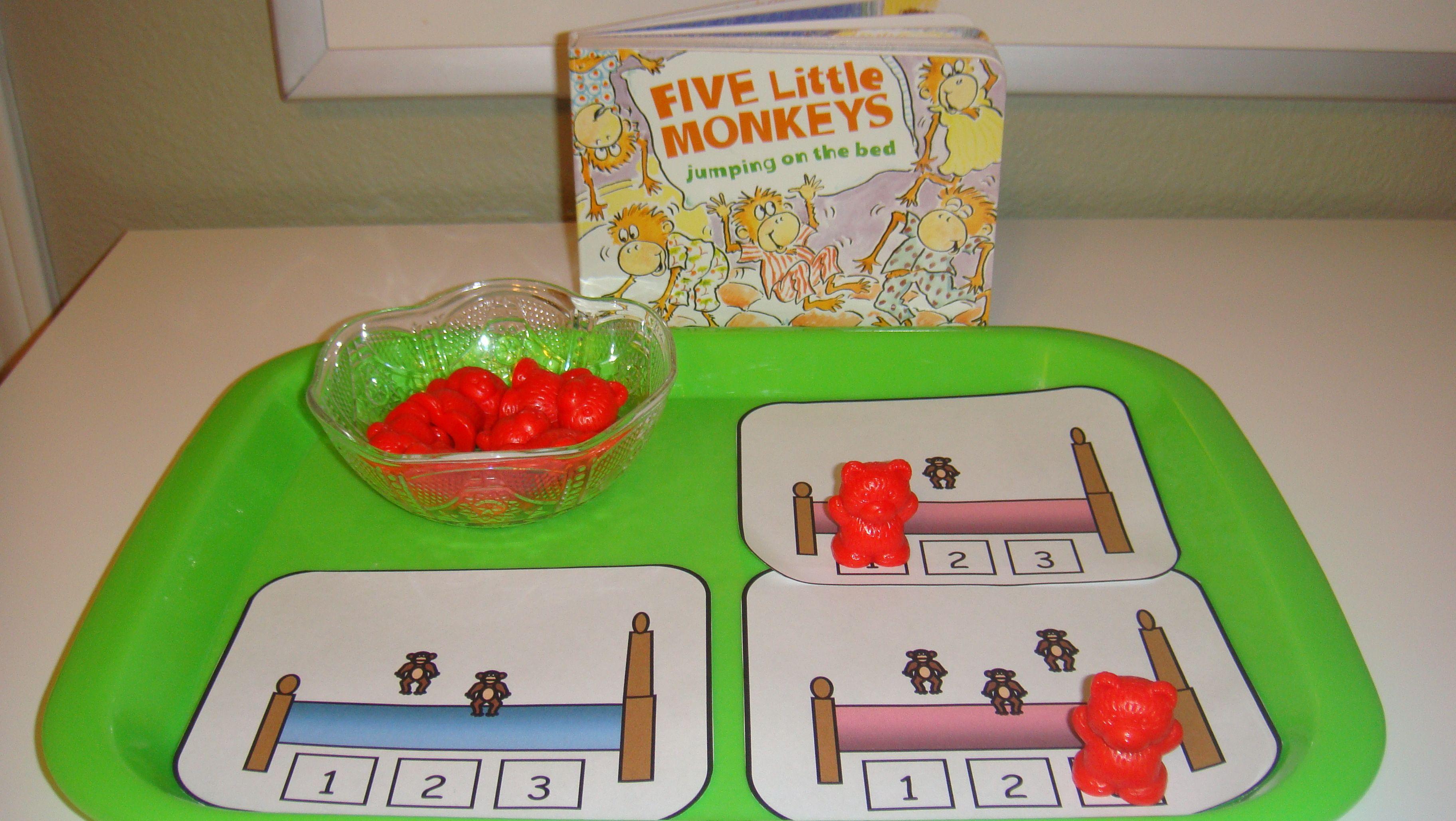 Toddler School Tray Five Little Monkeys Jumping On He