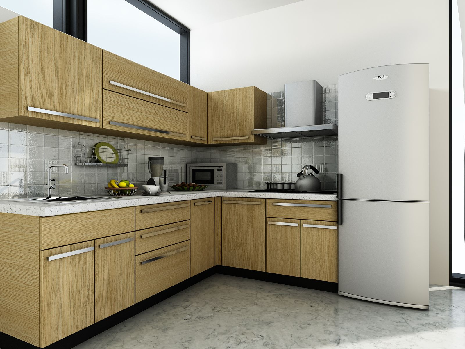 L shaped kitchen design Modular