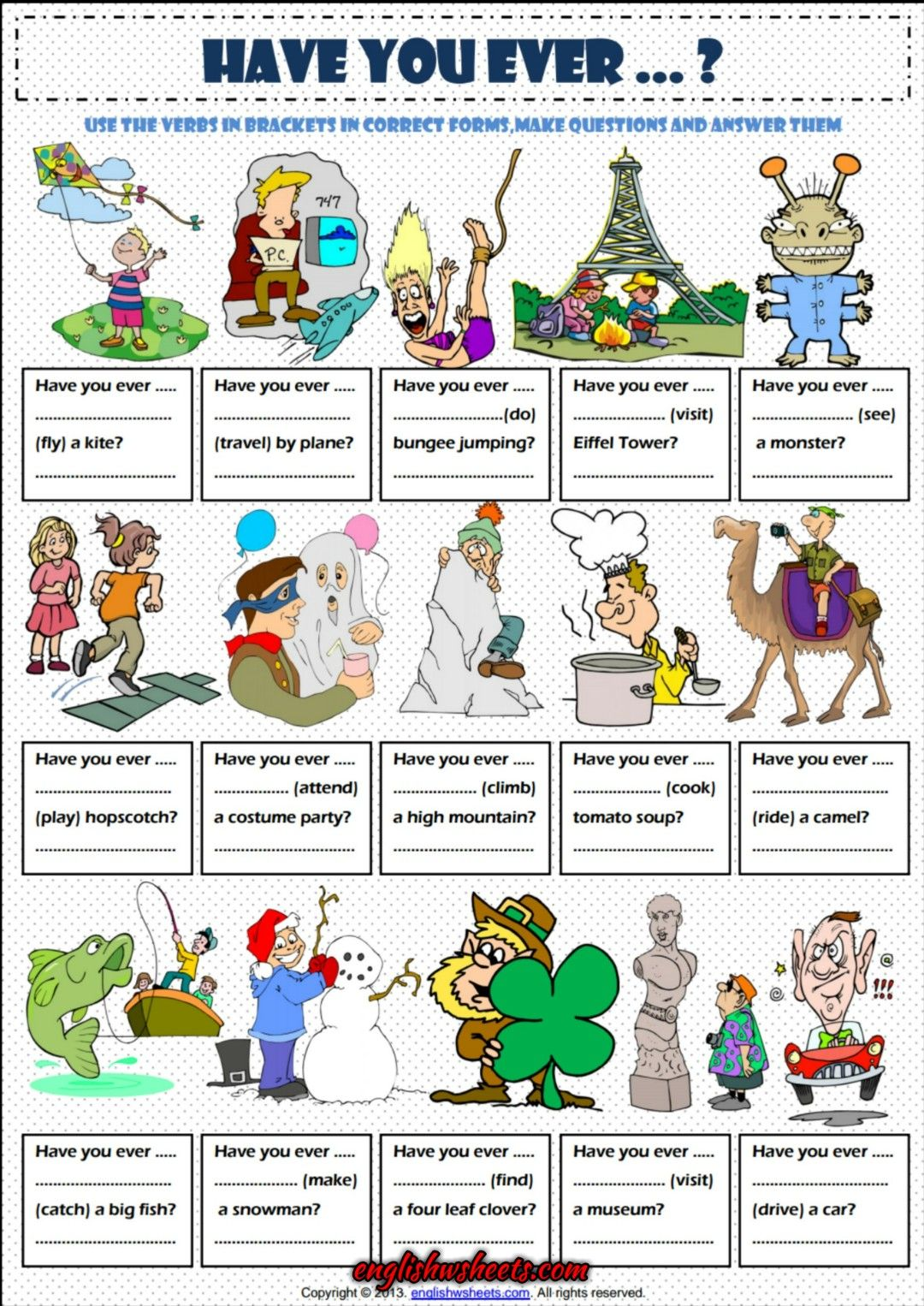 Have You Ever Present Perfect Tense Exercise Worksheet