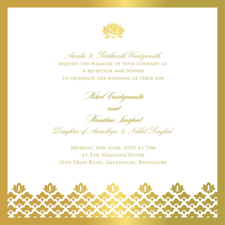 Elegant gold border and motifs on Indian reception