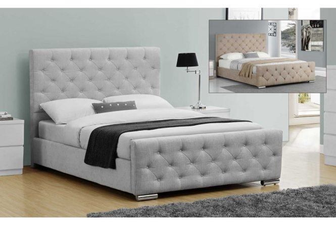 Buckingham Silver Or Champagne Fabric Bed No Storage But Reduced Down To Plus Mattress
