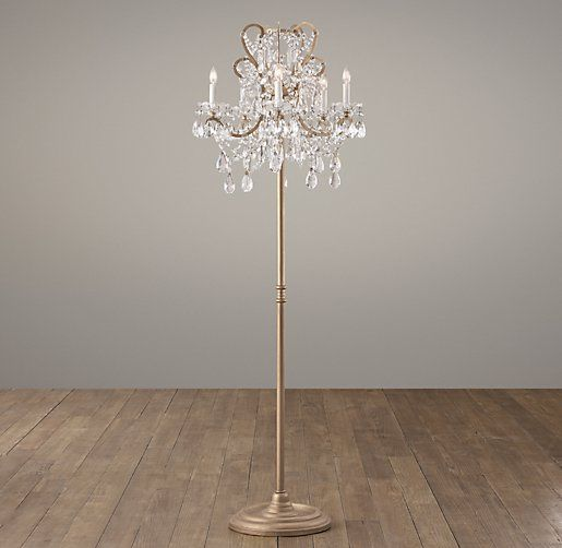 Two Chandeliers Too Much Manor Court Crystal 5 Arm Floor Lamp