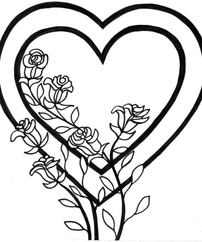 Coloring Roses Pictures Free Printable Heart Pages For Kids