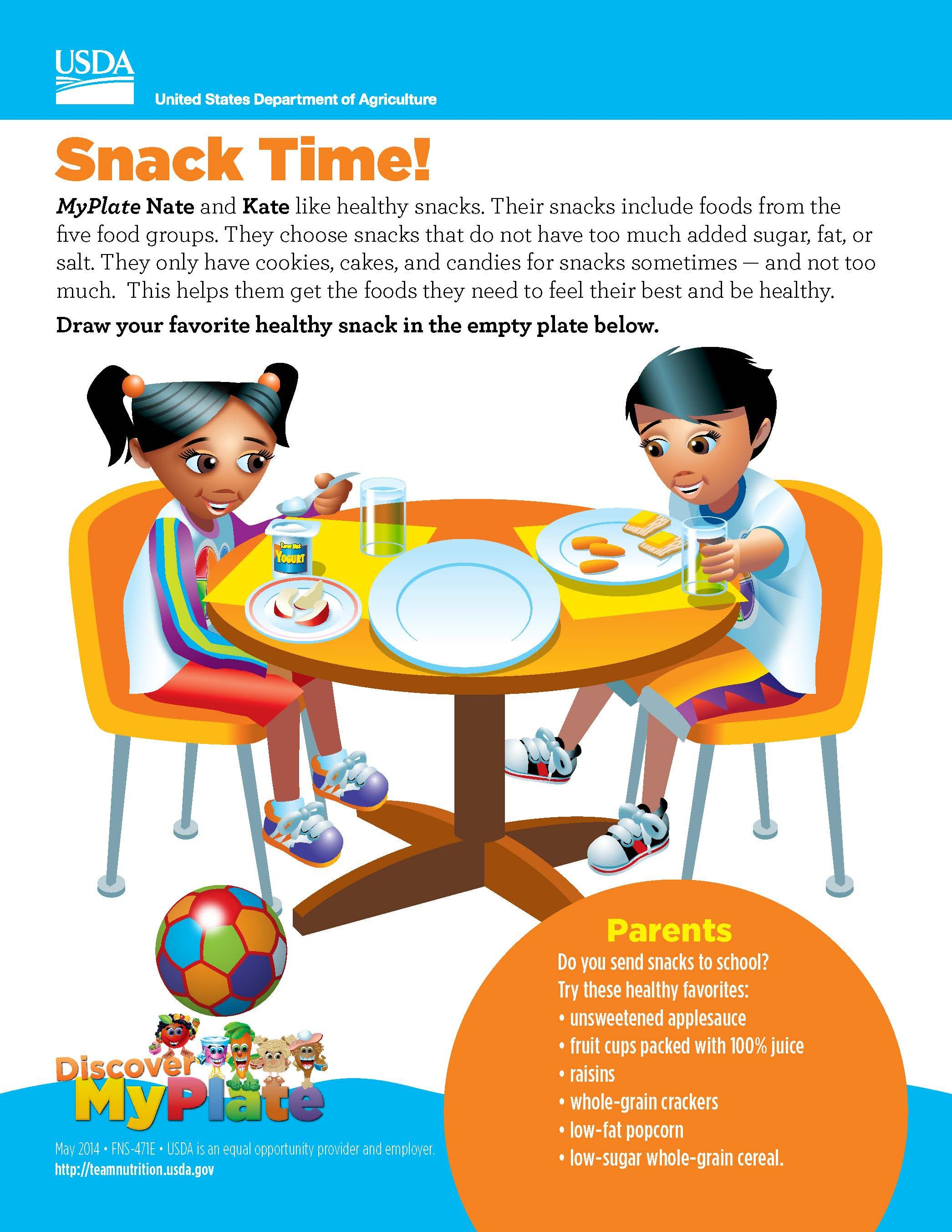5 Free Discover Myplate Nutrition Amp Physical Activity Handouts For Parents Of