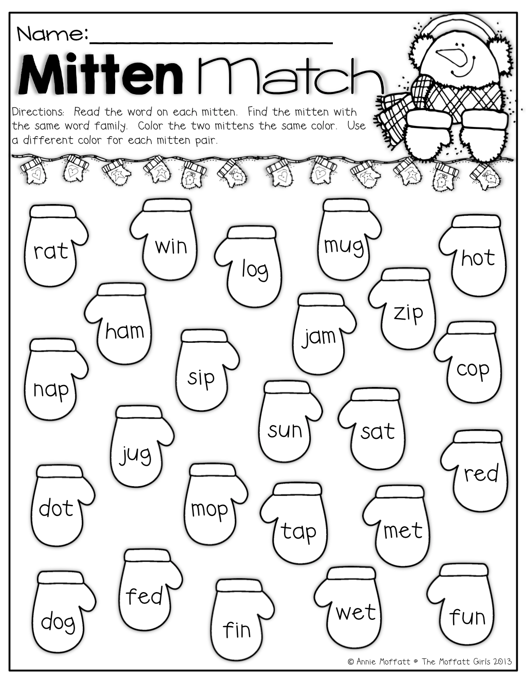 Mitten Match Color The Pair Of Mittens That Have The Same Word Family The Same Color