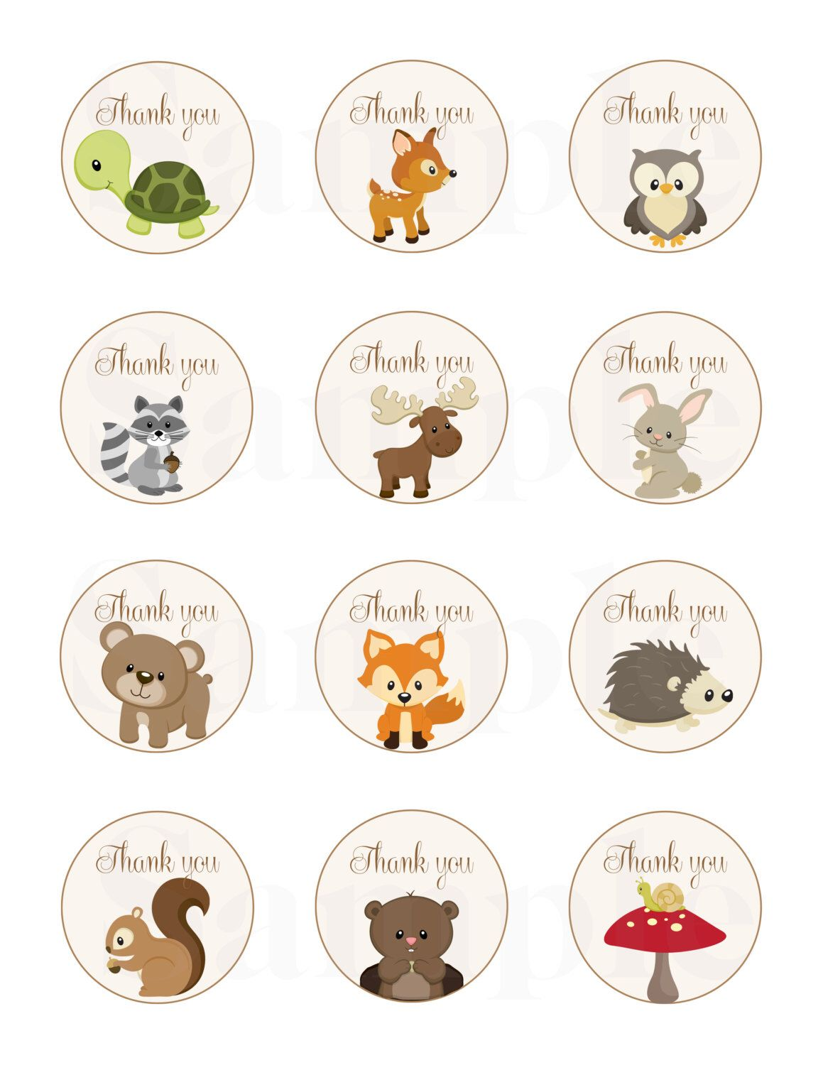 Woodland Friends Forest Animals Theme Baby Shower Thank Tags 2