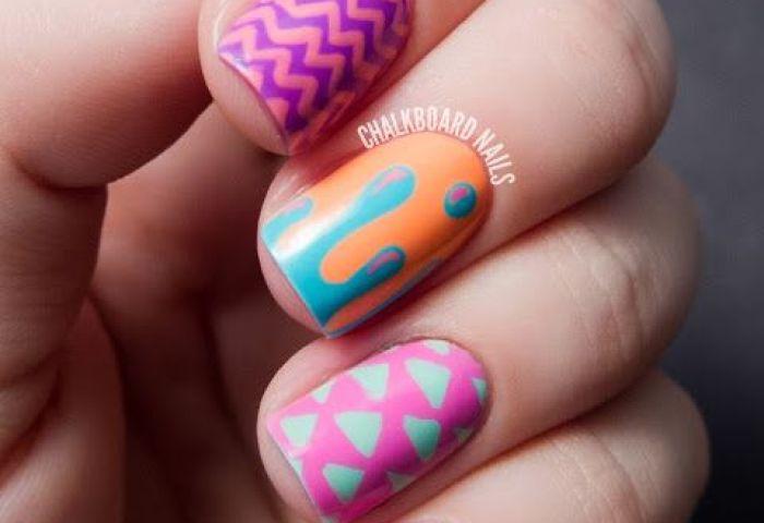 Hipster Mix And Match China Glaze Sunsational Nail Art Diseños