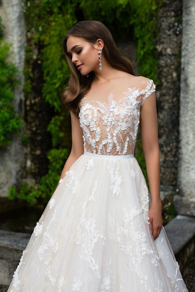Cap sleeves floral applique fully embellishment a line ball gown wedding dress #wedding #weddings #weddinggowns #bridedress