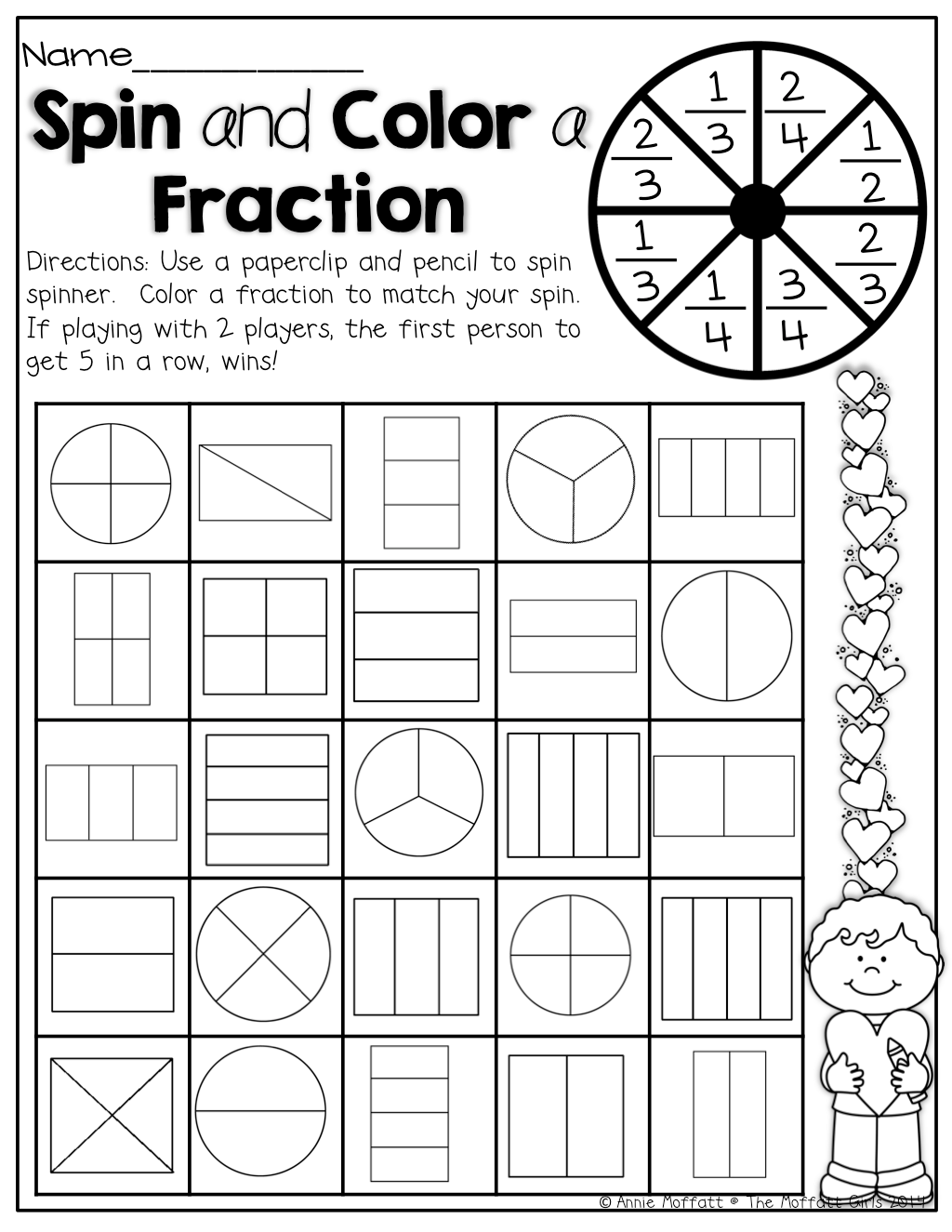 1st Grade Fraction Worksheet