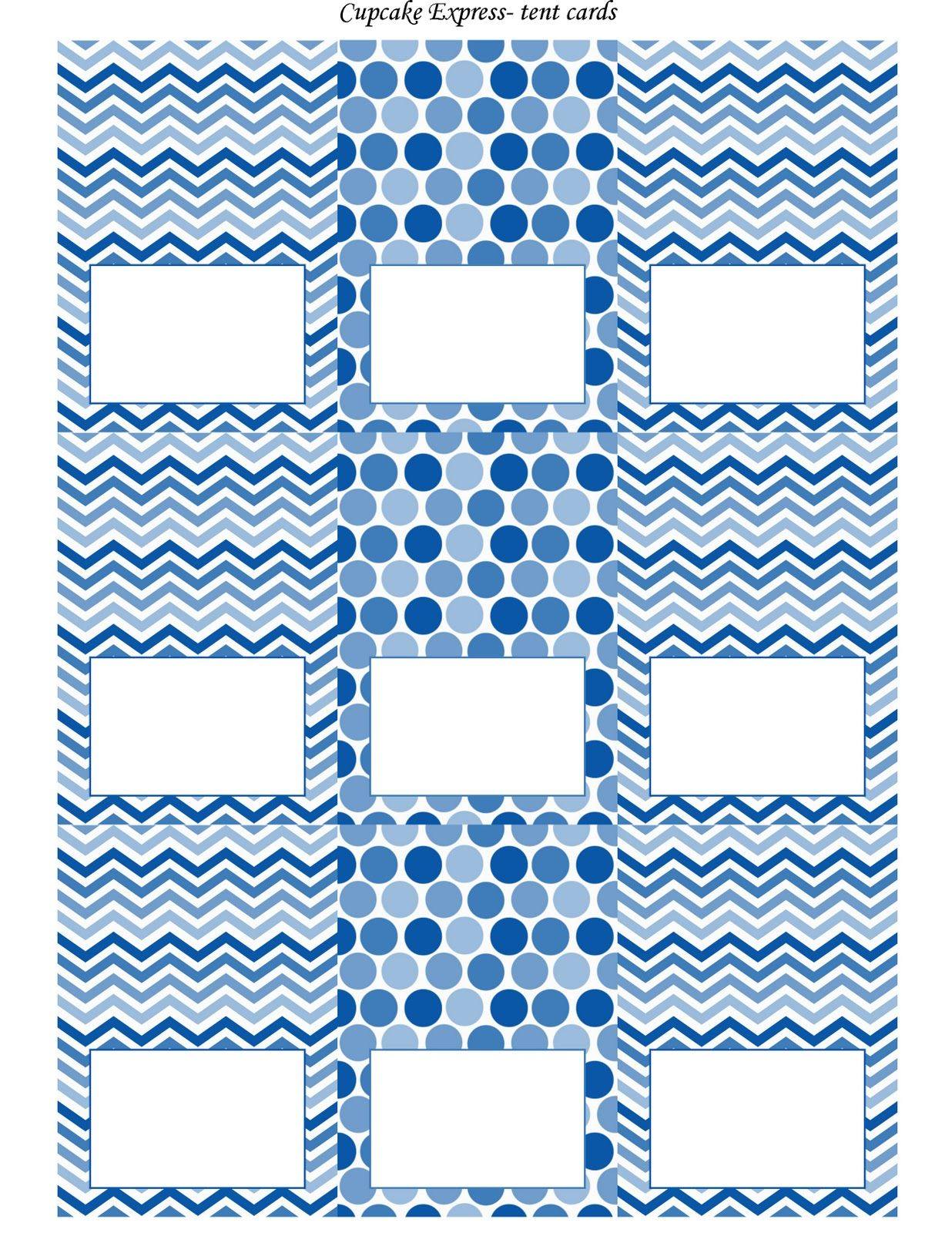 Free Blue And White Printable Tent Cards