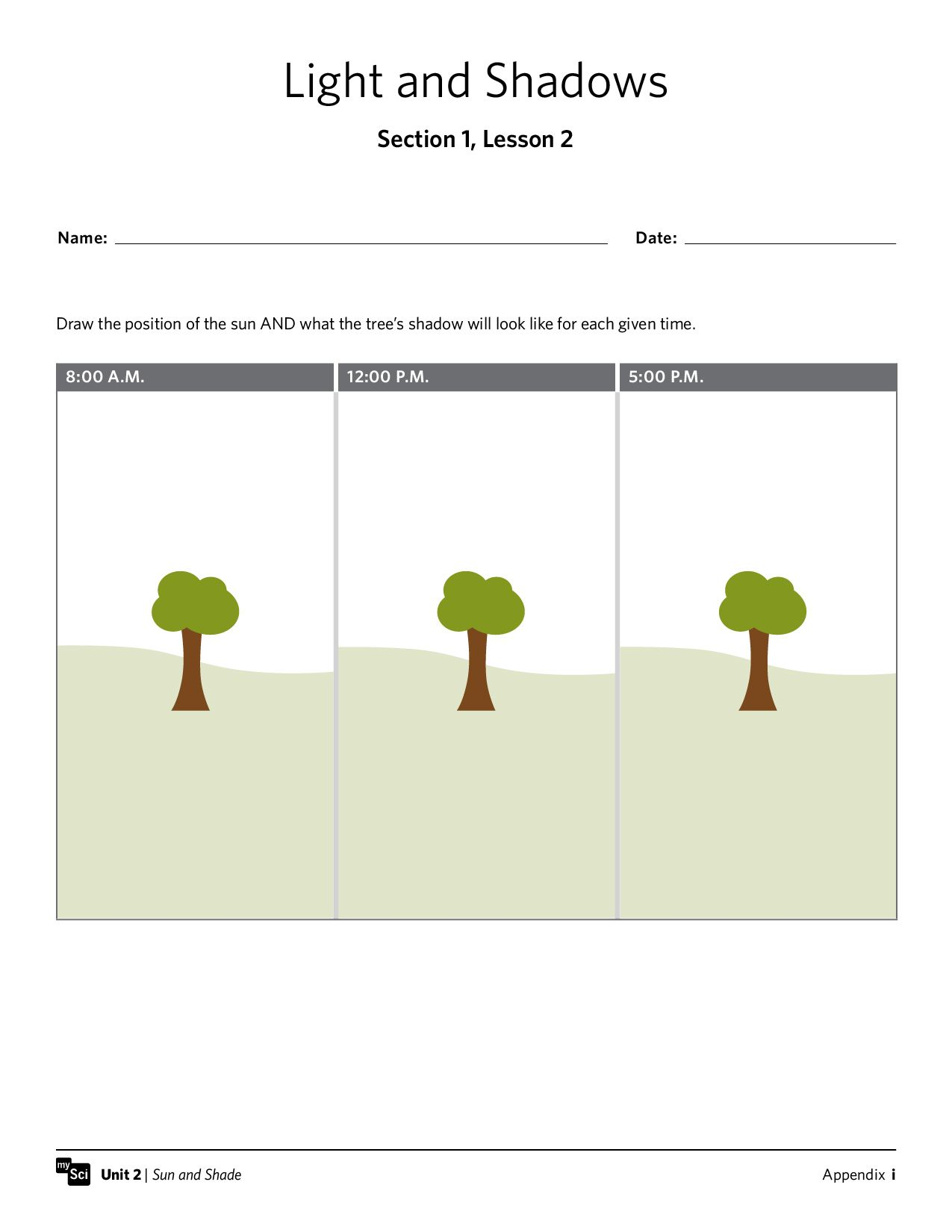 Light And Shadows Worksheet Mysci Kindergarten Instructionalmaterials