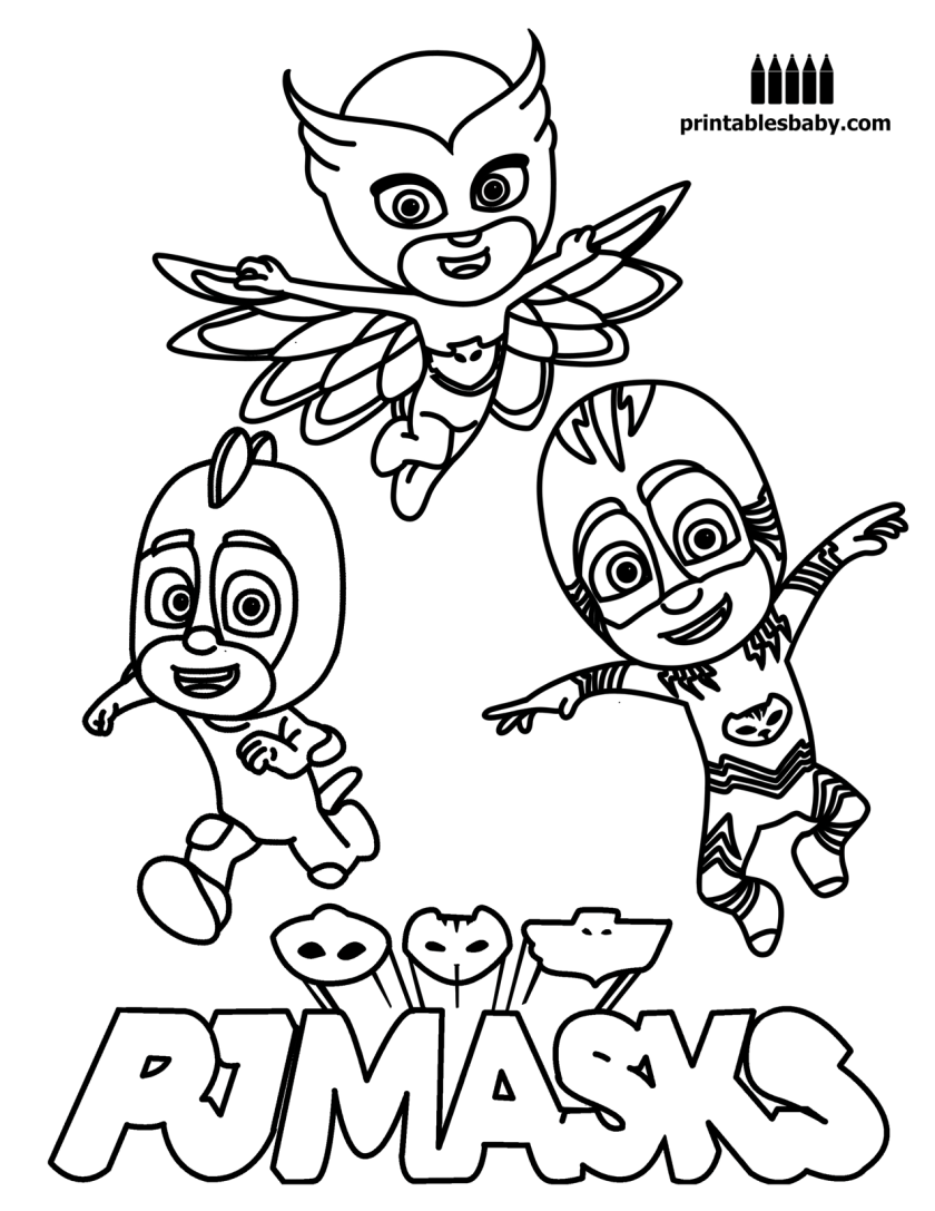 Printable coloring pages pj masks - Pj Masks Printables Baby Free Cartoon Coloring Pages