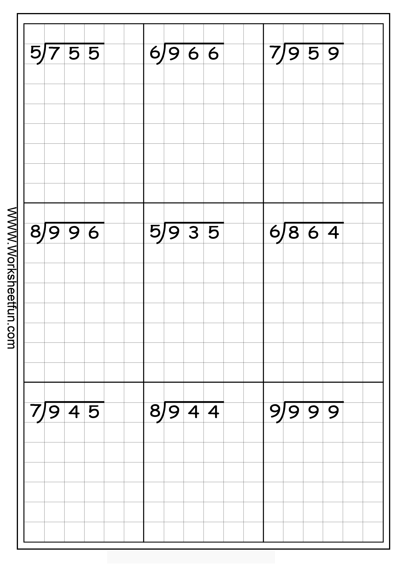 Long Division Free Worksheets