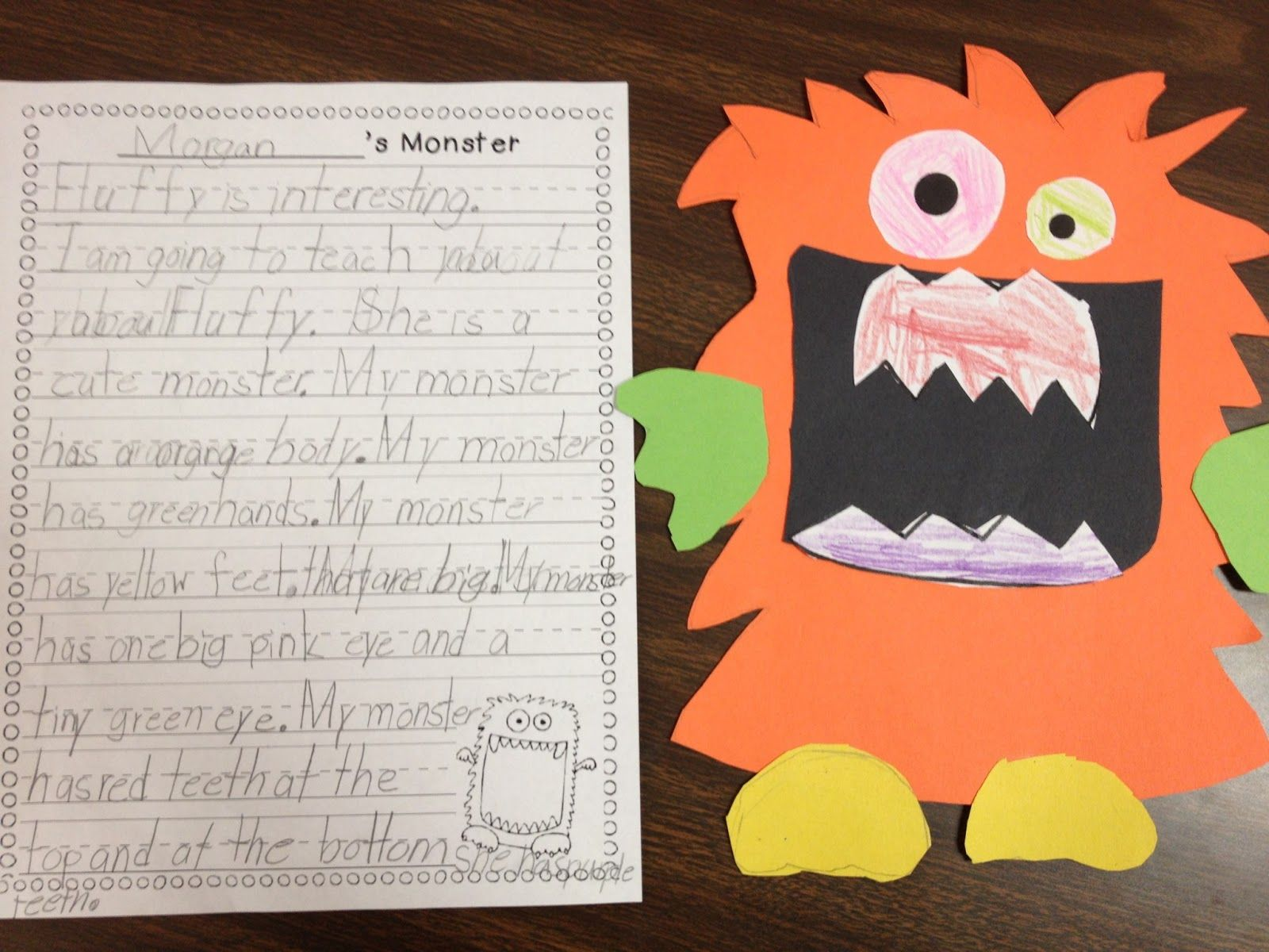 Monster Writing Use For Teaching Adjectives
