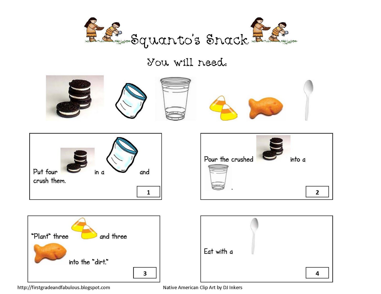 Squanto's Snack. Love this! I used the rebus story as