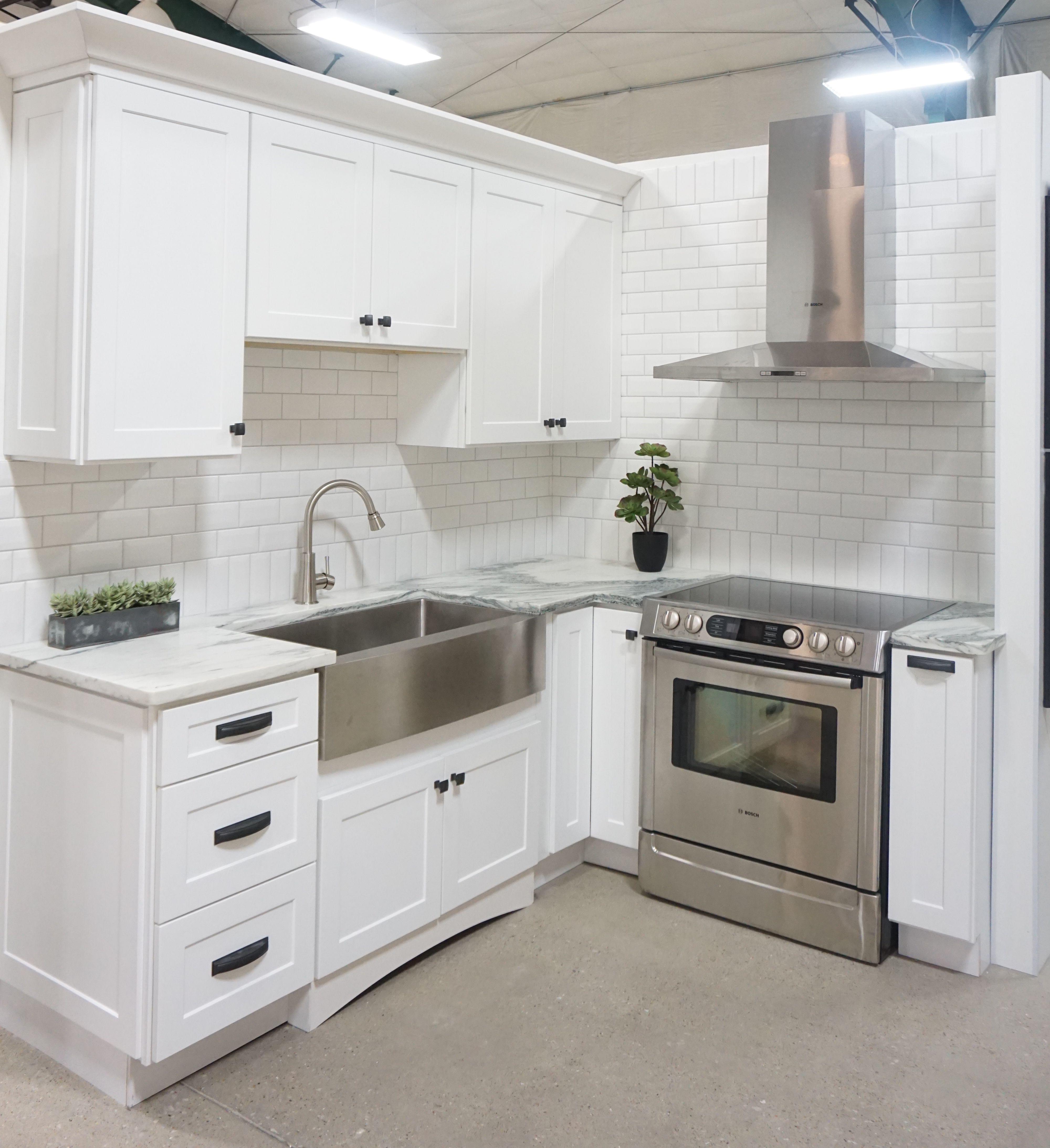 White shaker door style, white marble