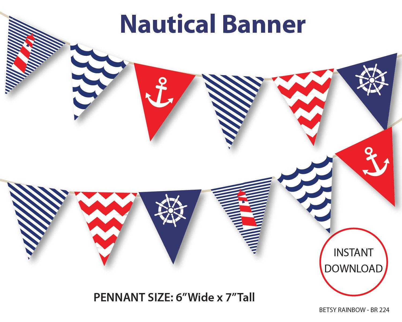Nautical Banner Printable Banner Nautical Diy Party Navy