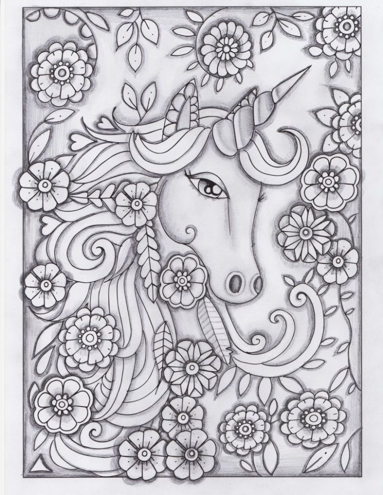 unicorn greyscale drawing unedited   Coloring Pages ...   free printable coloring pages for adults unicorns
