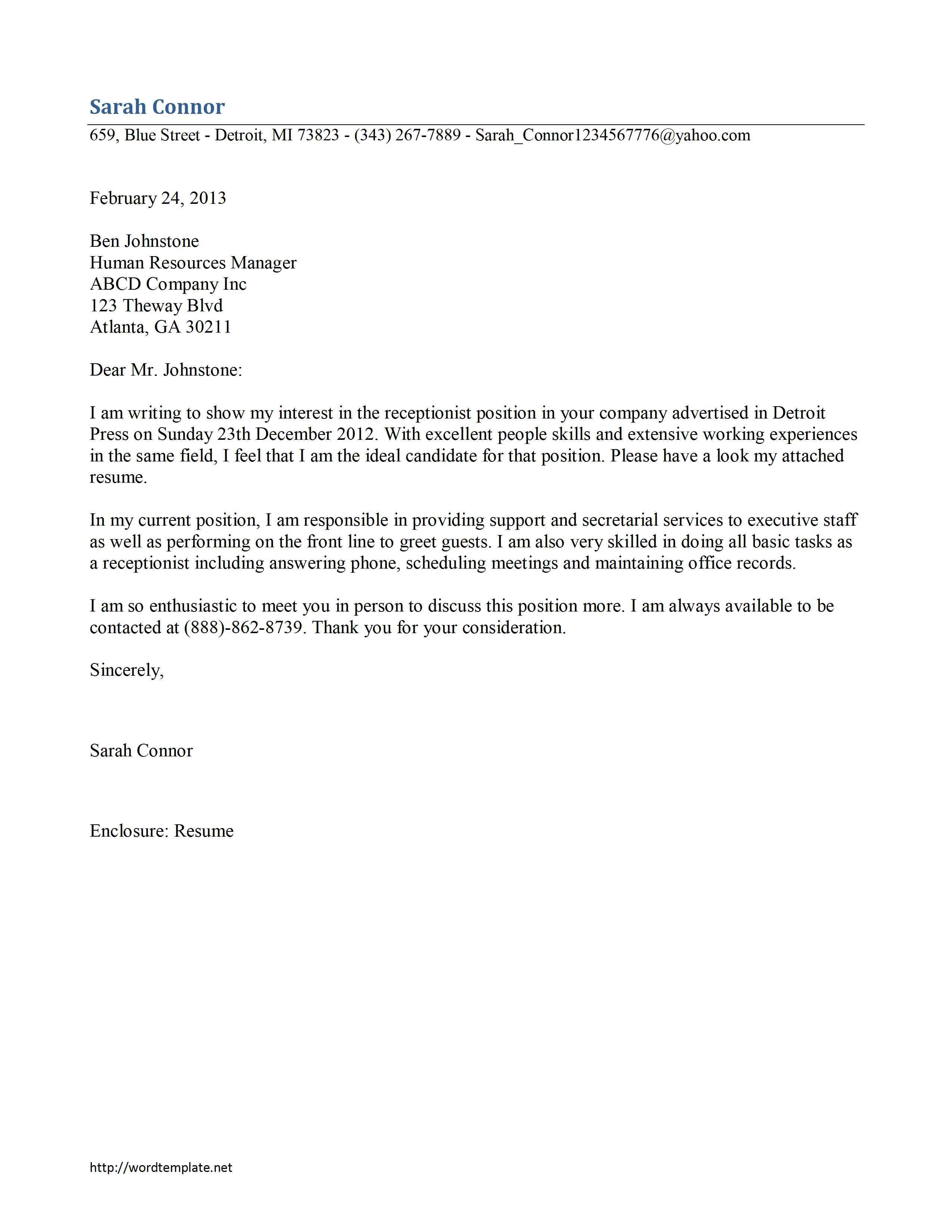 Samples Cover Letter For Receptionist Job Sample