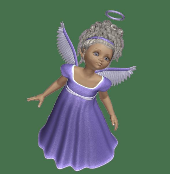 Purple 3D Angels Cute 3D Angel with Purple Dress PNG