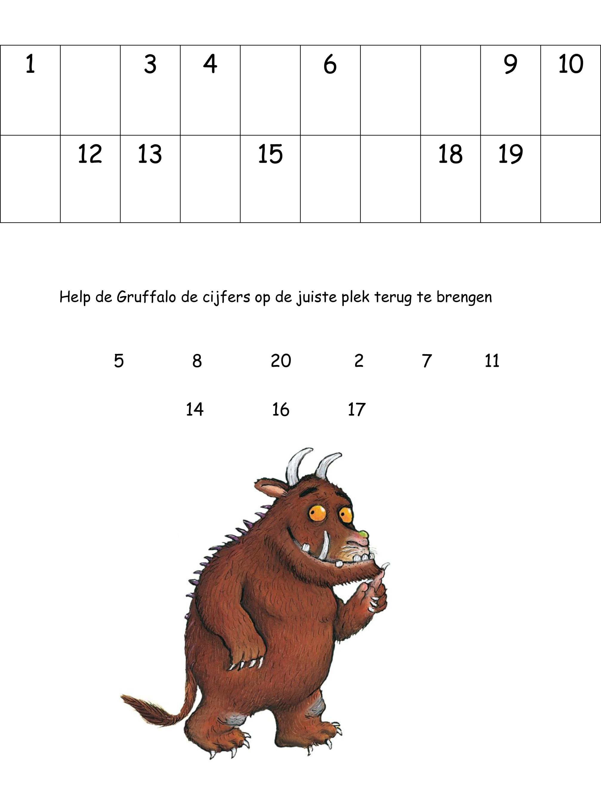 Werkblad Cijfers De Gruffalo