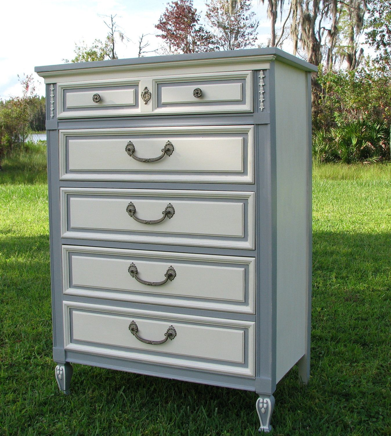Shabby Chic Dresser, Painted Furniture, Gray and White