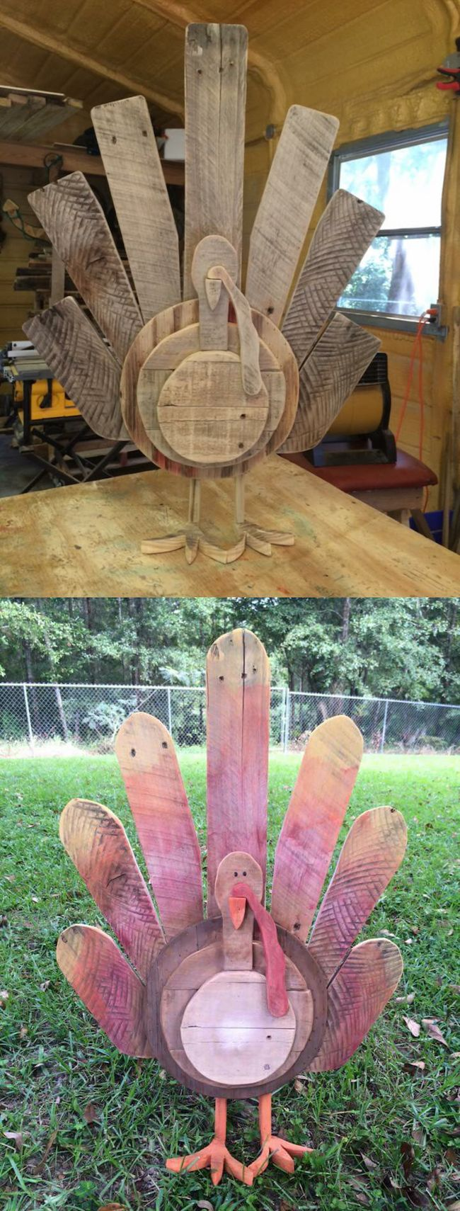 Reclaimed wood pallets turned into DIY Thanksgiving turkey