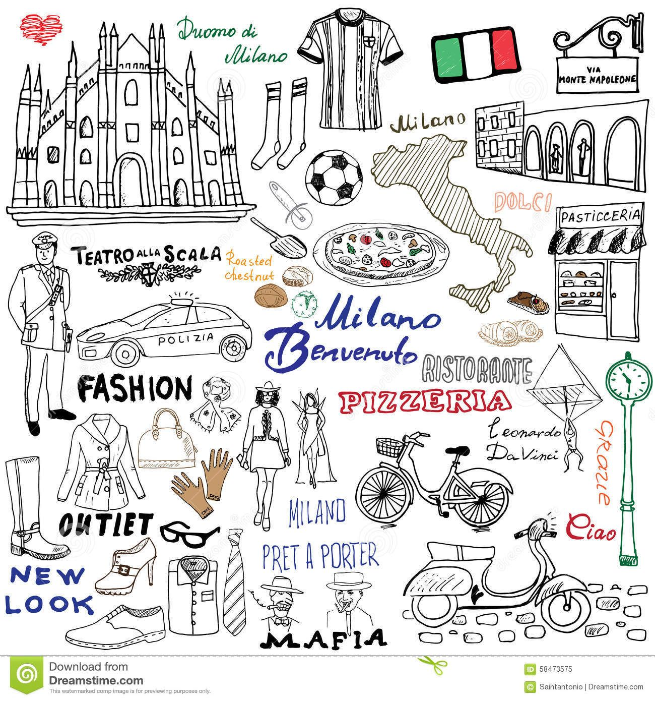 Milan Italy Sketch Elements Hand Drawn Set Duomo Cathedral