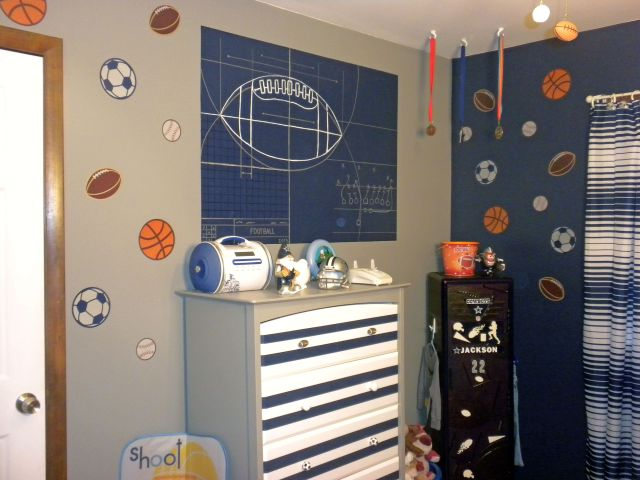 painted football mural and sports ball stickers painted dresser