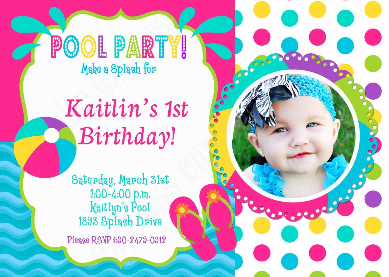 Pool Party Invitation Birthday Printable Birthday