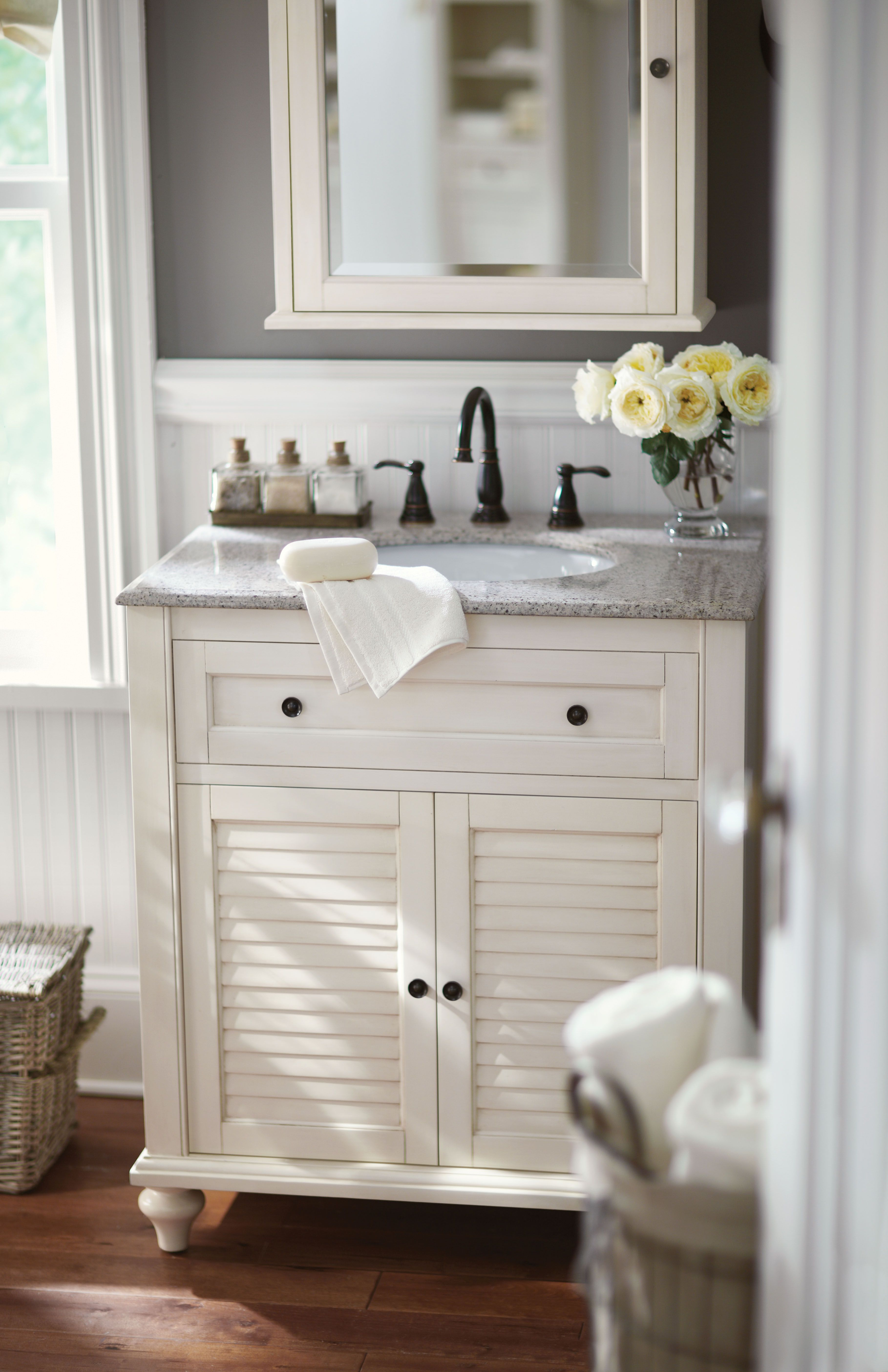 Small bath? No problem. A single vanity like this one is