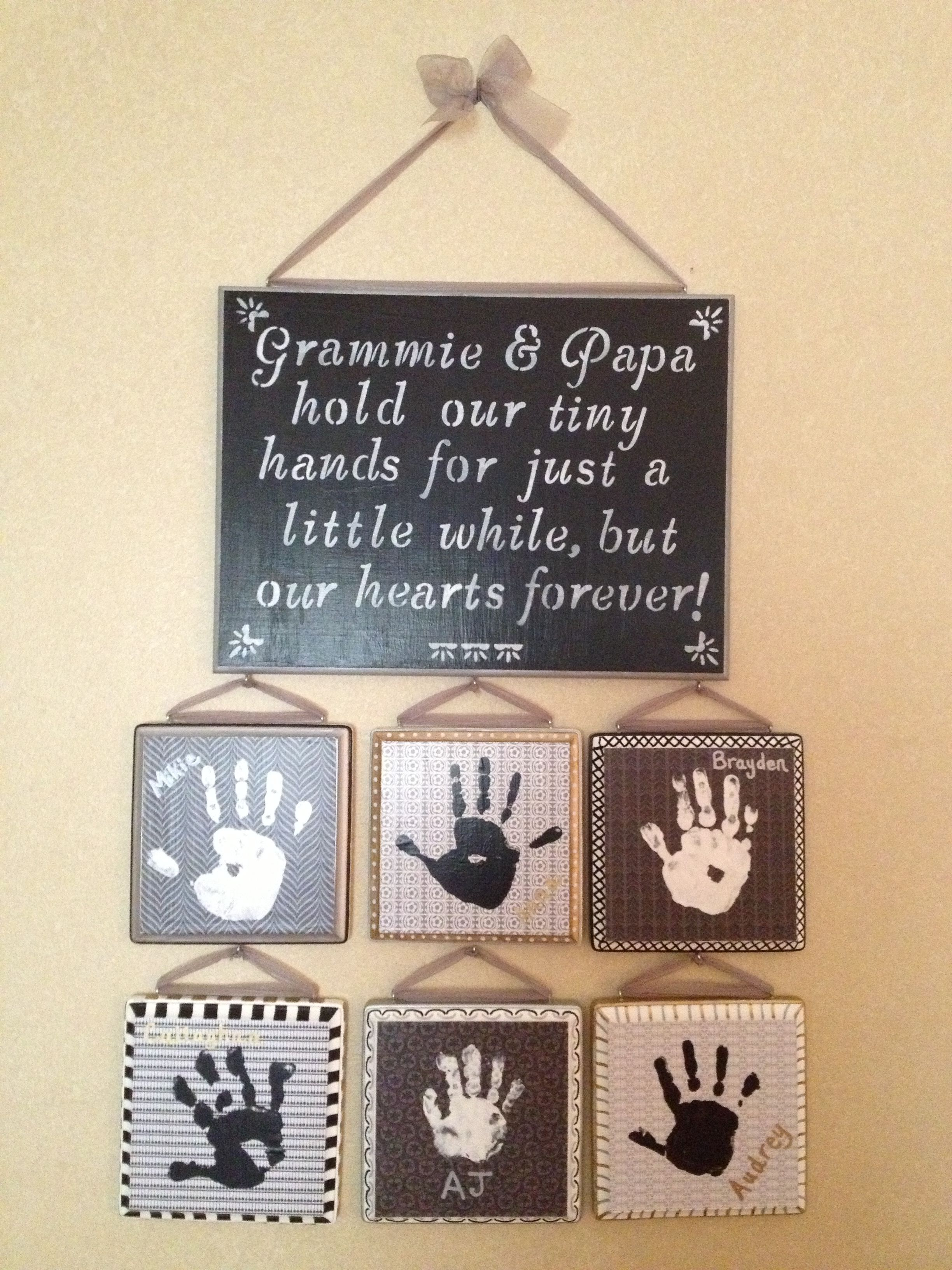 Great gift for grandparents Handprint ideas Pinterest