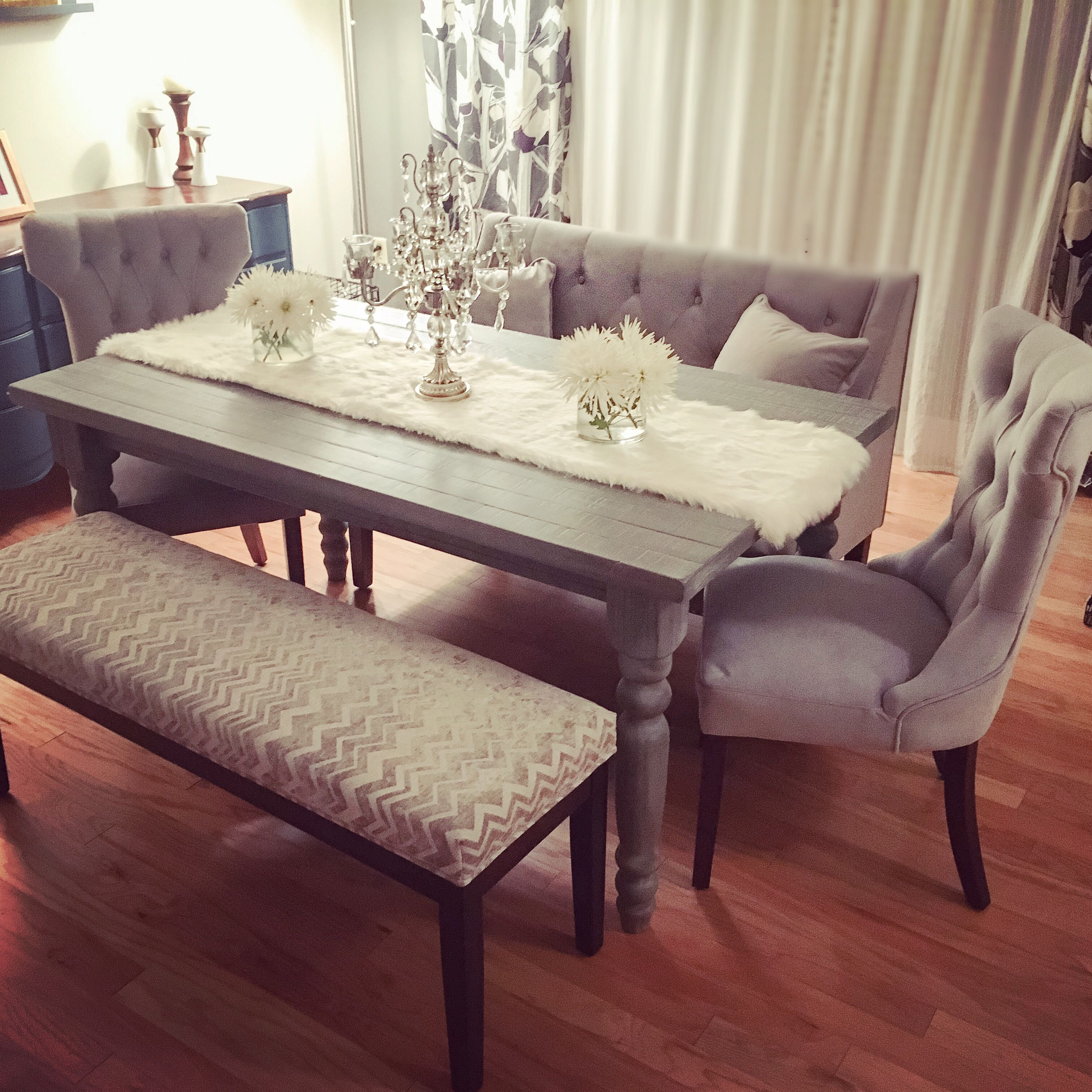 My new grey rustic chic dining table set. Tufted velvet
