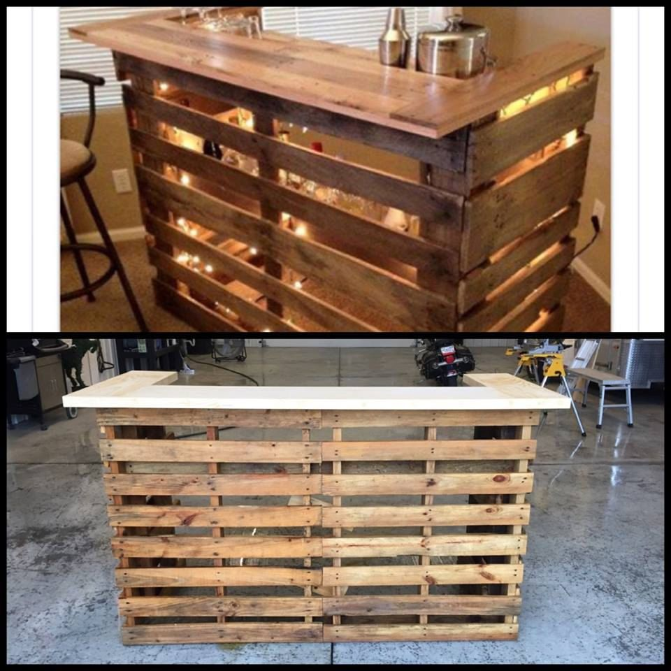 Bar Made From Pallets May Be Stained Or Left Unfinished