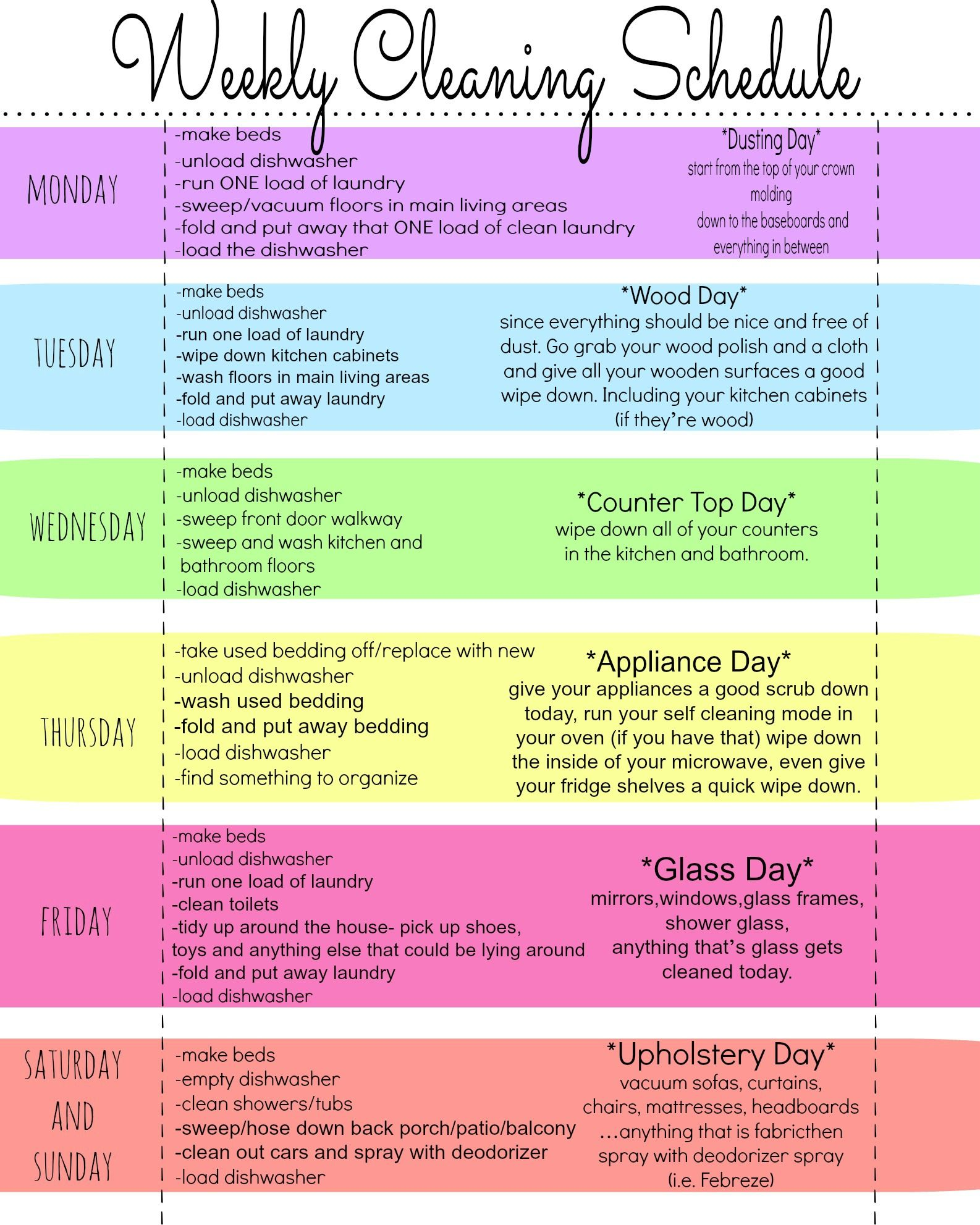My Quirky Weekly Cleaning Chart Free Printable