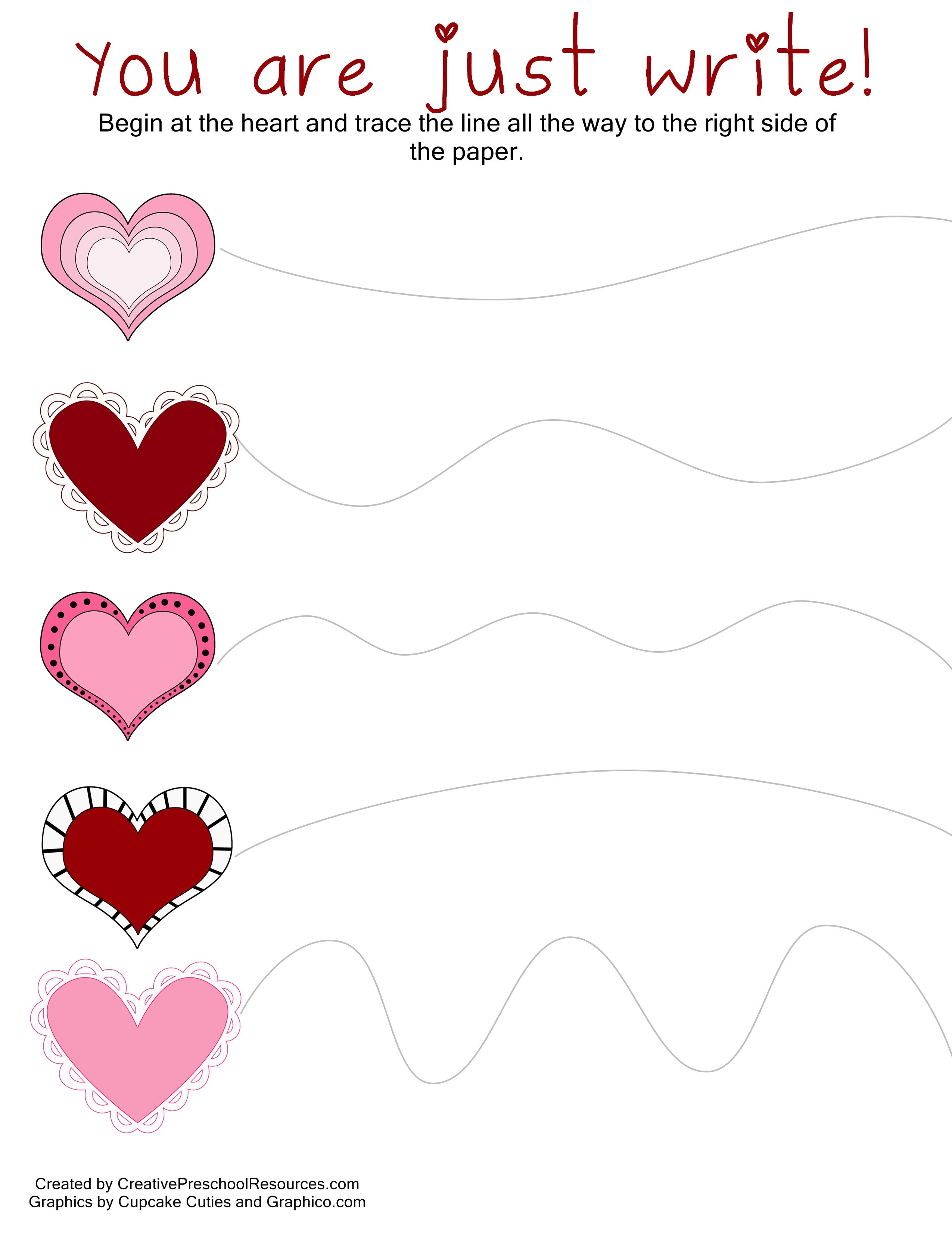 Valentine Trace Amp Cut Printables