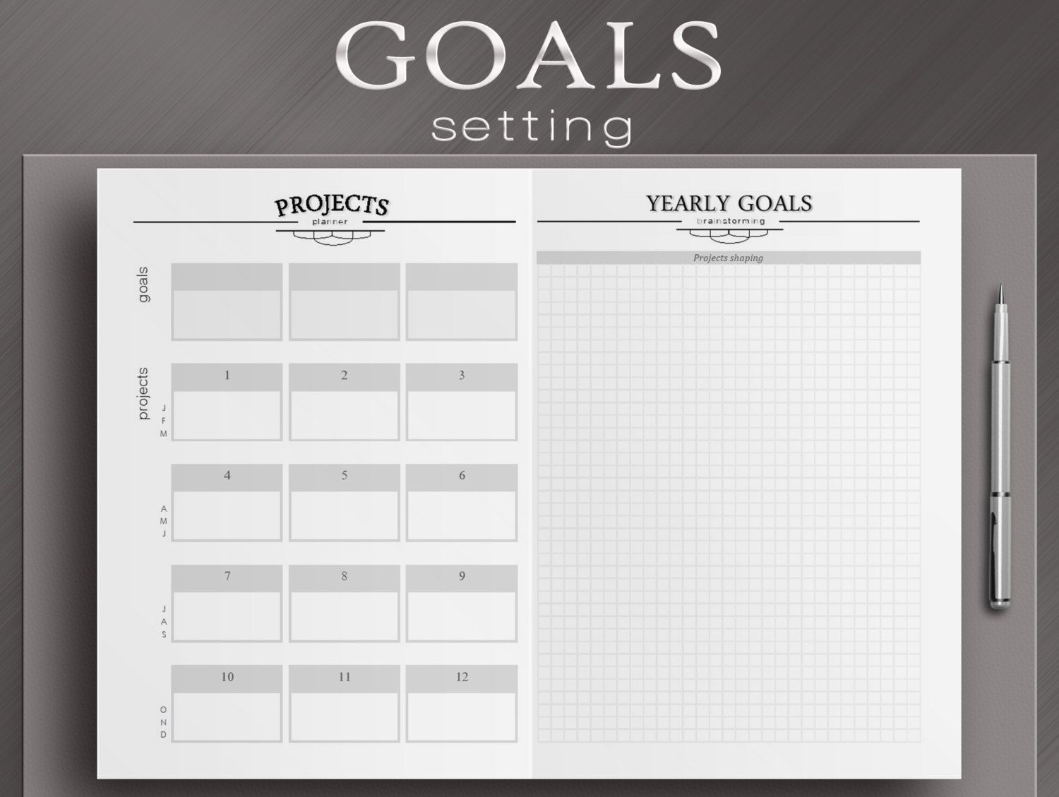 Yearly Review And Goals Setting Worksheets 3 By Neatandcorporate Organization