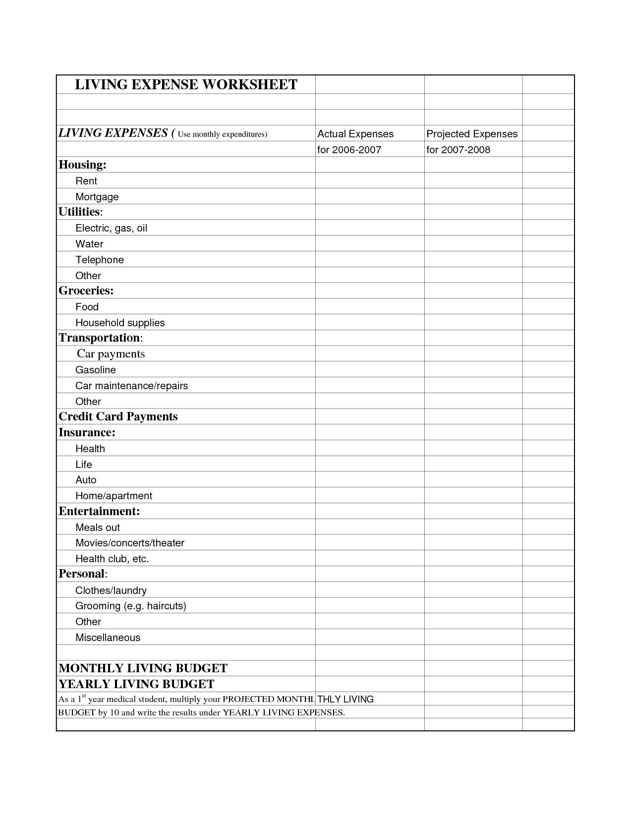 Living Expenses Worksheet Monthly Living Expenses Worksheet
