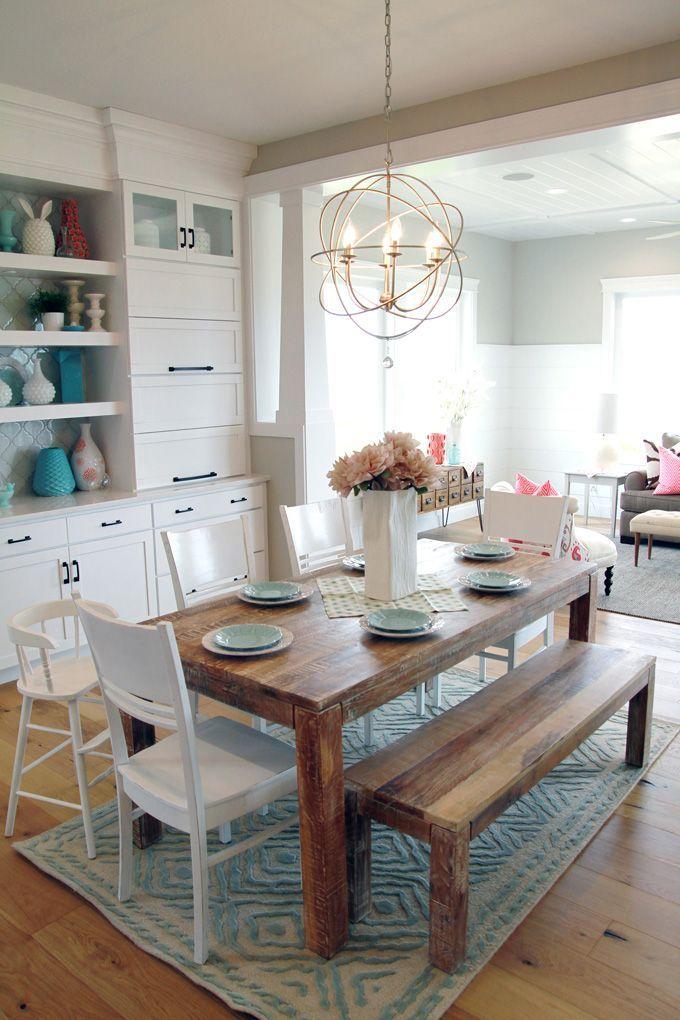 Orb chandelier / farmhouse table dining room Pinterest