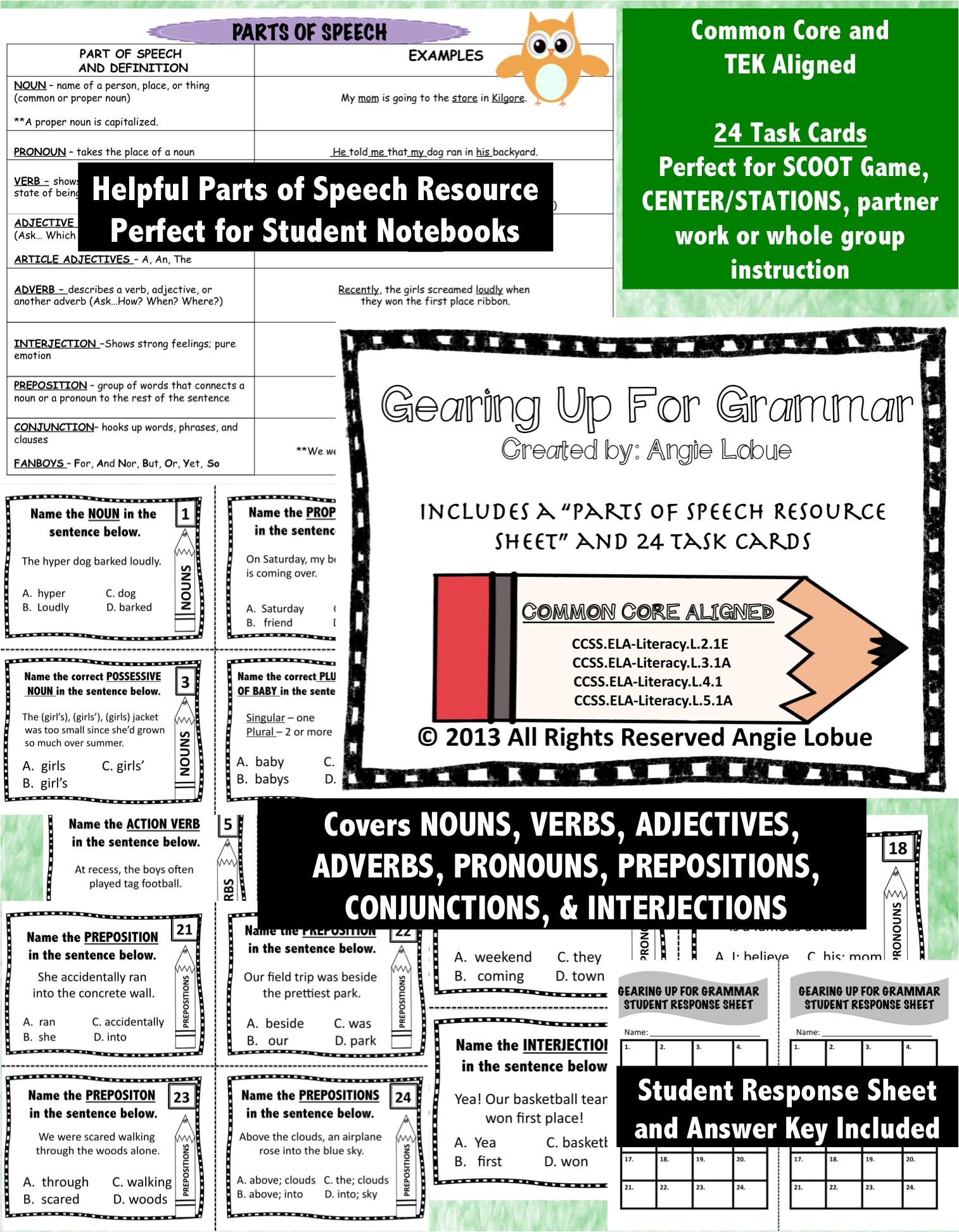 Grammar Parts Of Speech Task Cards Amp Resource Sheet Common Core Aligned
