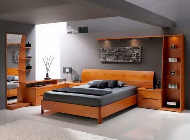 Mesmerizing Master Bedroom Design With Laminate Teak Furniture In Grey Wall Paint Color A
